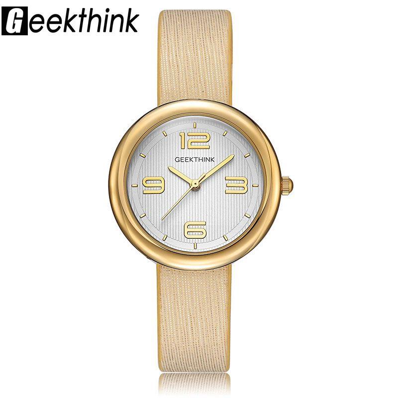 GEEKTHINK Lujo correa de Cuero Reloj de Cuarzo Relojes de Mujer de Marca Señoras Ocasionales Simples de Oro Chica Reloj Femenina y Caja de Regalo