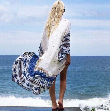Blaue Farbe Bikini-vertuschungen Beachwear