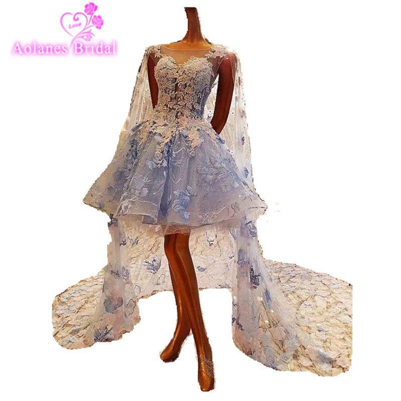 Vestido De Novia 2017 Short Light BLue/Ivory Beach Wed Dress Tulle Applique Beading Lace Beach Boho Wedding Dresses Bridal Gowns