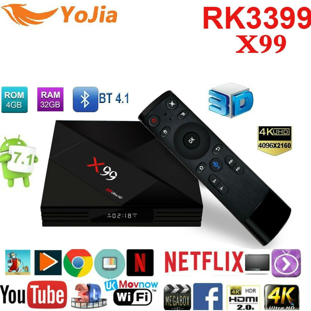 2018 Newest 4GB 32GB Rockchip RK3399 Android 7.1 TV BOX X99 With Voice remote 2.4G/5G Dual WIFI BT4.1 4k Smart set top box X99