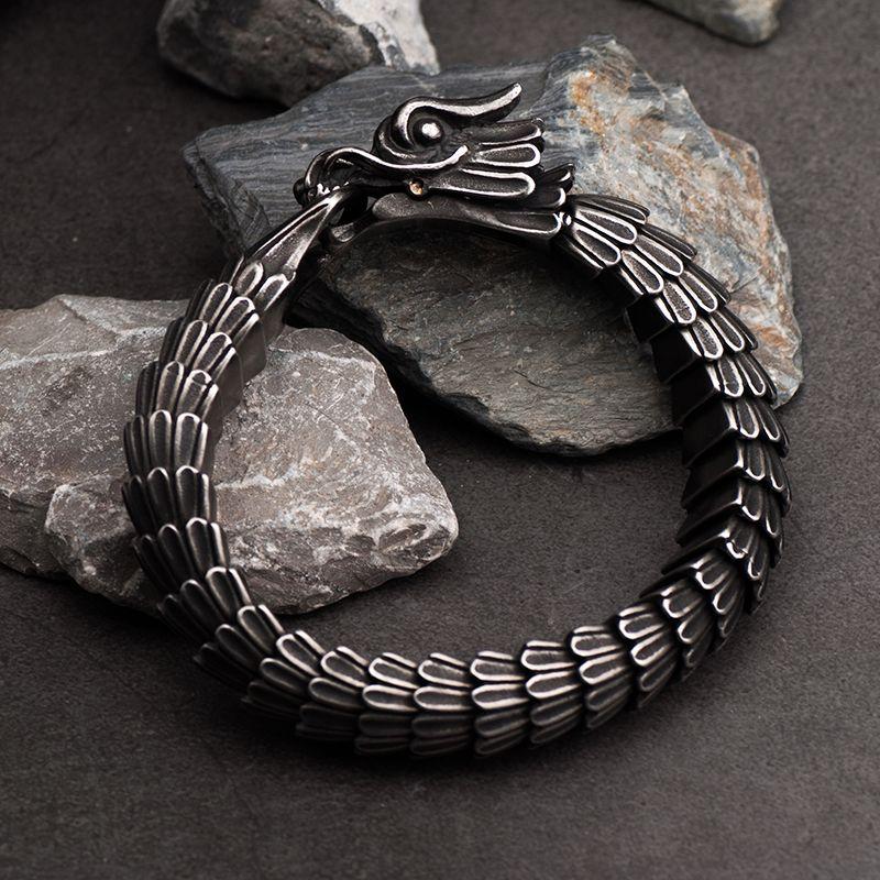 Bracelet Dragon pour homme acier inoxydable bijoux fantaisie
