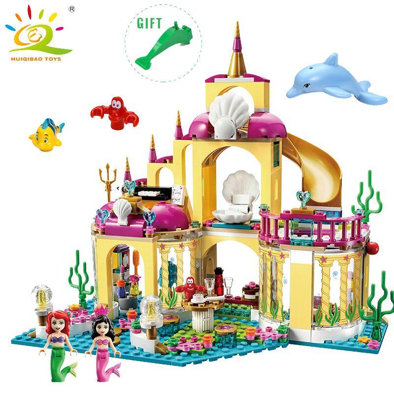 Elsa Ice Castle Princess Anna Ariel Little Mermaid Figures Building Blocks Compatible Legoed  friends for girl Educational Toys