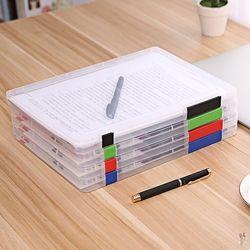 3 Couleurs A4 Transparent Boîte De Rangement En Plastique Transparent Document Papier De Remplissage Dossier PP Bureau Organisateur Invisible Cas De Stockage