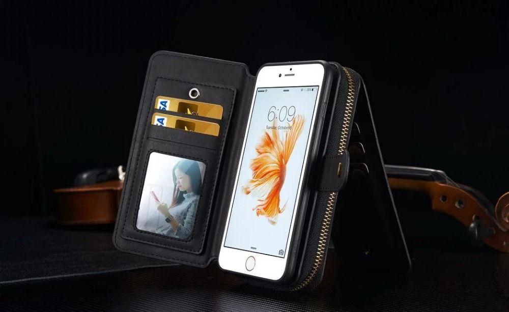 BRG Portable Zipper Portefeuille En Cuir PU Cas pour Iphone 5S 6 s Plus 7 8 Plus Avec 2 en 1 Magnétique Miroir Sac À Main Pochette Dame bourse