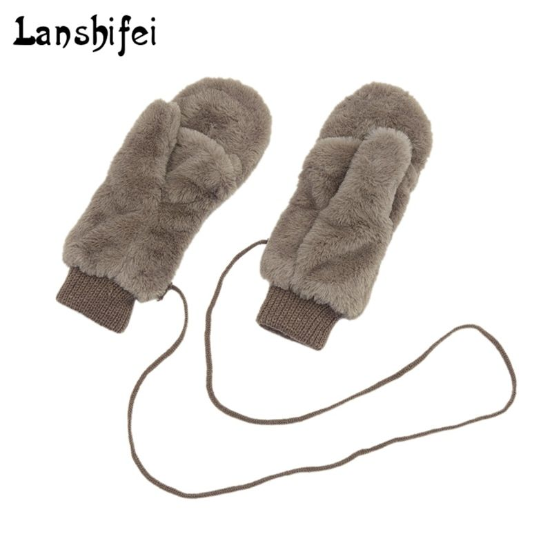 Winter Thickened Cute Whole Covered Finger Mittens for Women Plush Gloves Fluffy Rabbit Dual-layer Hang on Neck Type Mittens