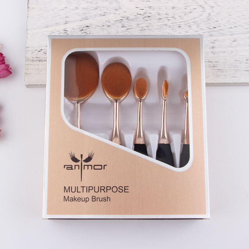 5 pièces Ovale Maquillage Brush Set Cadeau Maquillage Brosses Professionnel Fondation Poudre Pinceaux de Maquillage Kit