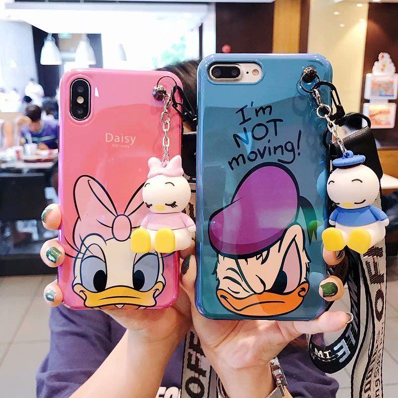 Super Cute Mickey Minnie Donald Duck KT Cat lanyard+silicone personality drop case for iphone 6S 7 8 Plus X XR XS MAX phone case