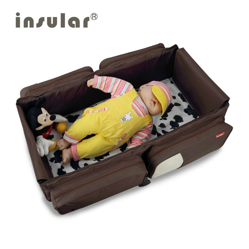 New Arrival Messenger Baby Diaper Bag Portable Baby Bed Travelling Changing Bags Fold Baby Bed