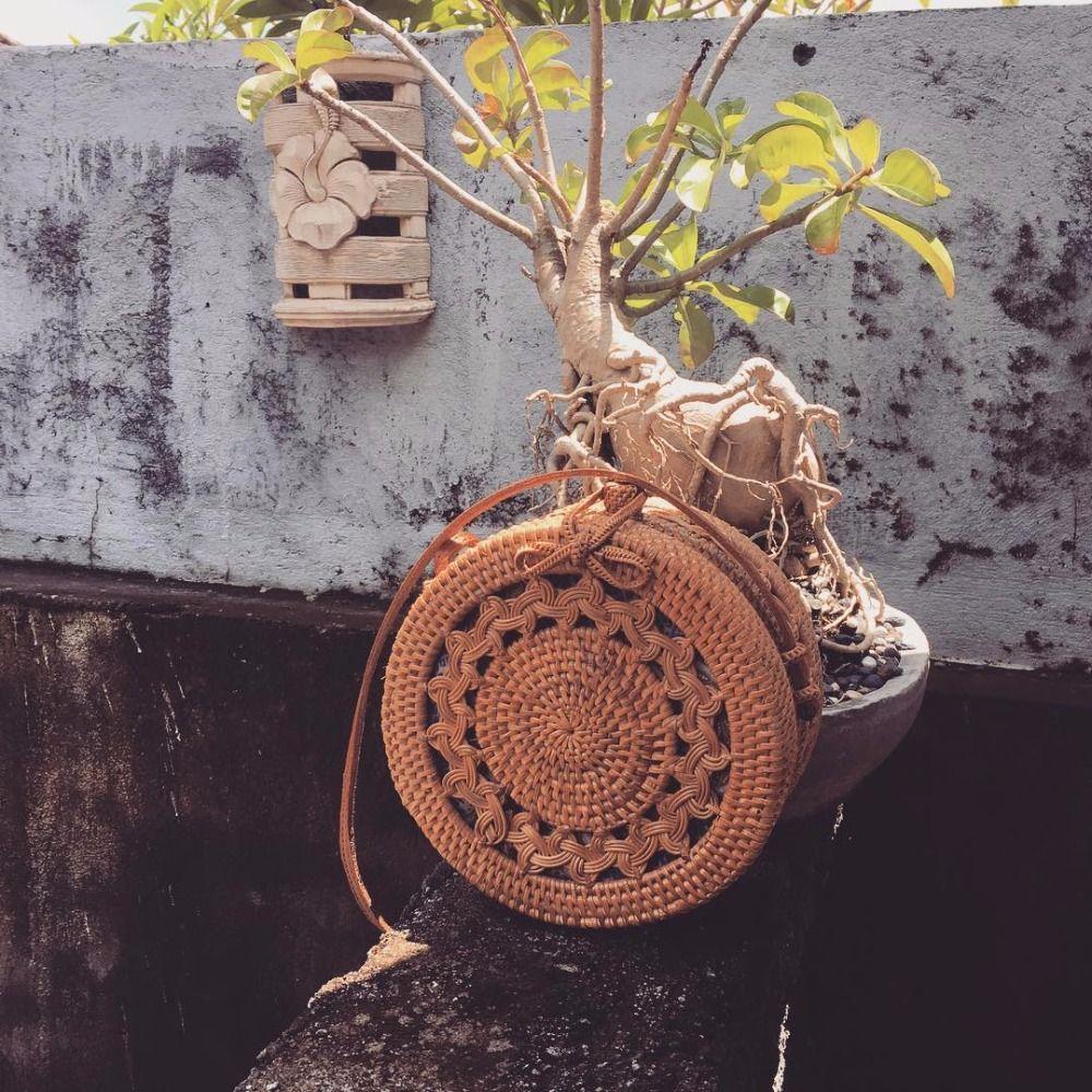 ZHIERNA New Satchel Wind Bohemia Beach Circle Bag Bali Island Hand Woven Bag Round Rattan Straw Bags
