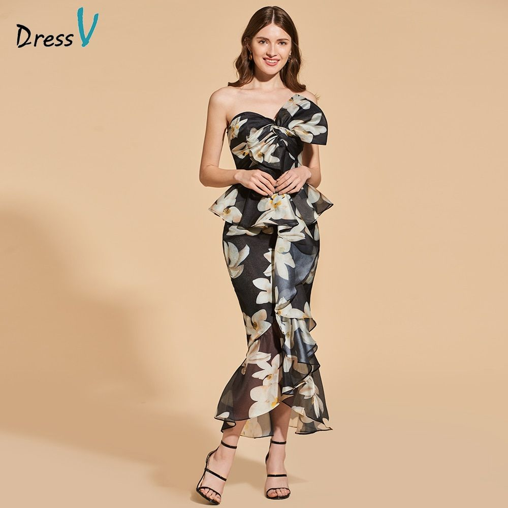 Dressv print bowknot cocktail dress elegant strapless tea length zipper up mermaid wedding party formal dress cocktail dress