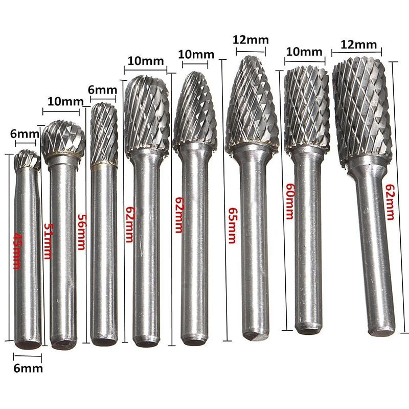 8pcs/set 1/4 Inch 6mm Tungsten Carbide Burr Bits Rotary Files CNC Engraving Tool Set For Power Tool