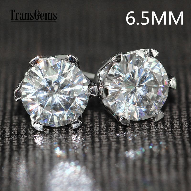 Transgems 14K 585 White Gold 2ctw 6.5mm lab Created Moissanite Diamond Stud Earrings For Women push Back Earrings
