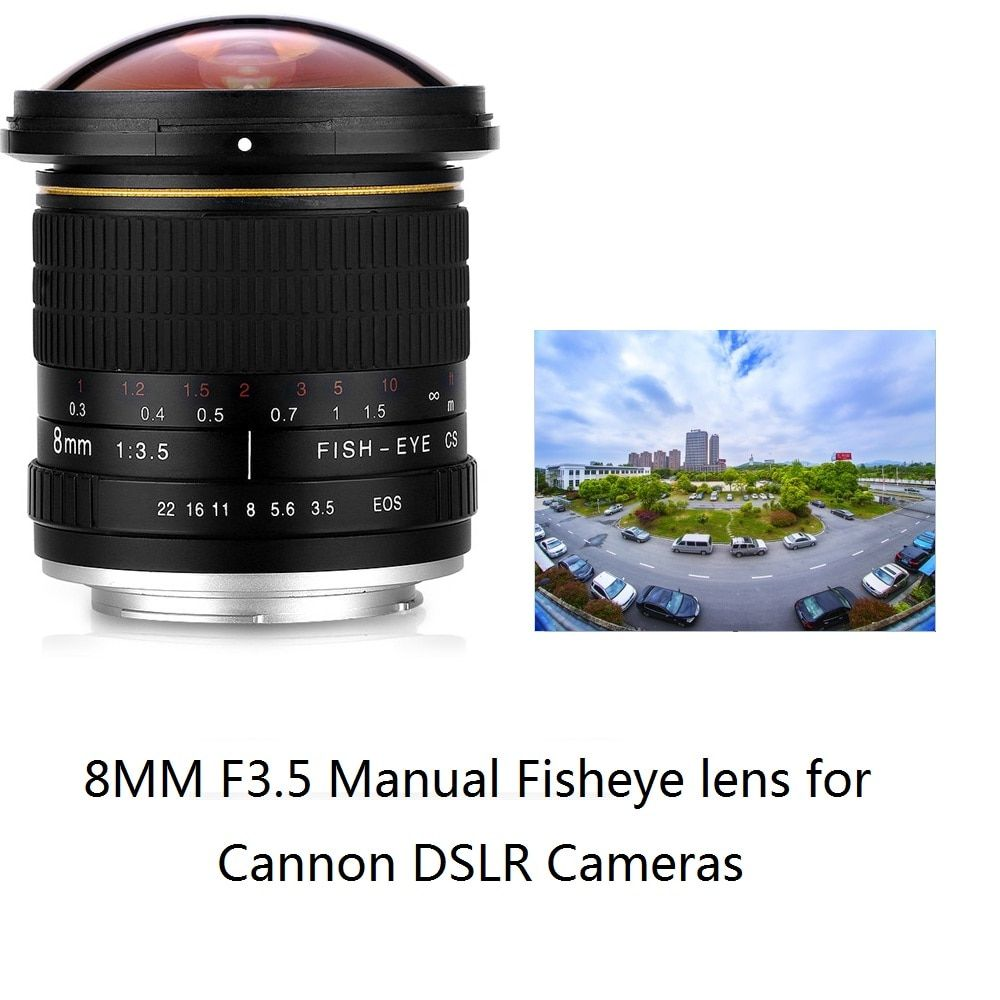 Objectif Fisheye Ultra grand Angle manuel Lightdow 8mm F/3.5 pour appareils photo demi-cadre Canon 1200D 760D 750D 700D 750D 600D 70D 60D 77D
