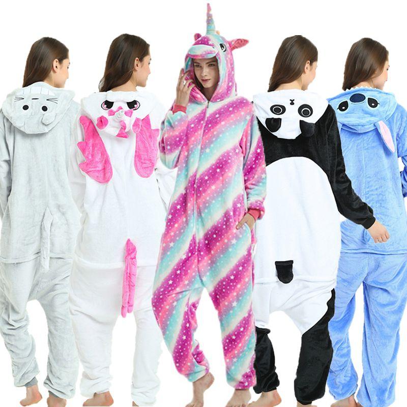 Unisexe adultes pyjamas animaux Anime Onesie point licorne Panda ours Pikachu flanelle dessin animé mignon chaud Cosplay vêtements de nuit