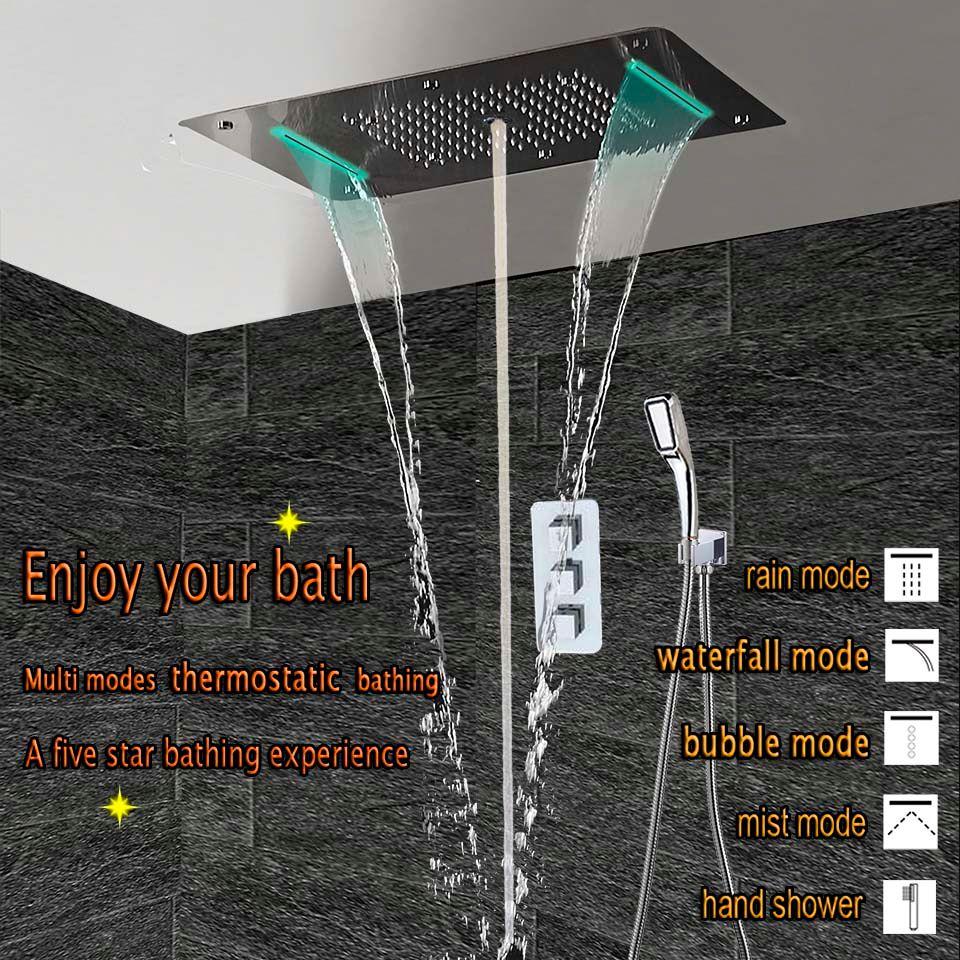 Bad Dusche Set LED Decke Dusche Kopf Thermostat Wasserhahn Verborgen Panel Luxus Bad Mischer Niederschläge Wasserfall Blase Nebel