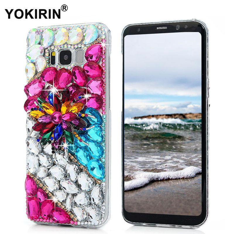 YOKIRIN Bling Glitter Cristal 3D À La Main Diamant PC Couverture Strass Cas Pour Samsung Galaxy Note 5 8 S7 S6 Bord A3 A5 J5 2017