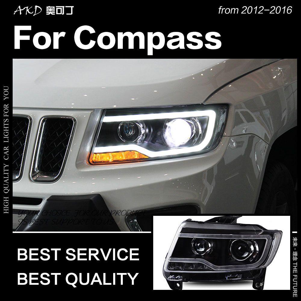 AKD Auto Styling für Jeep Kompass Scheinwerfer 2012-2016 Kompass LED Scheinwerfer DRL Hid Kopf Lampe Engel Auge Bi xenon Strahl Zubehör