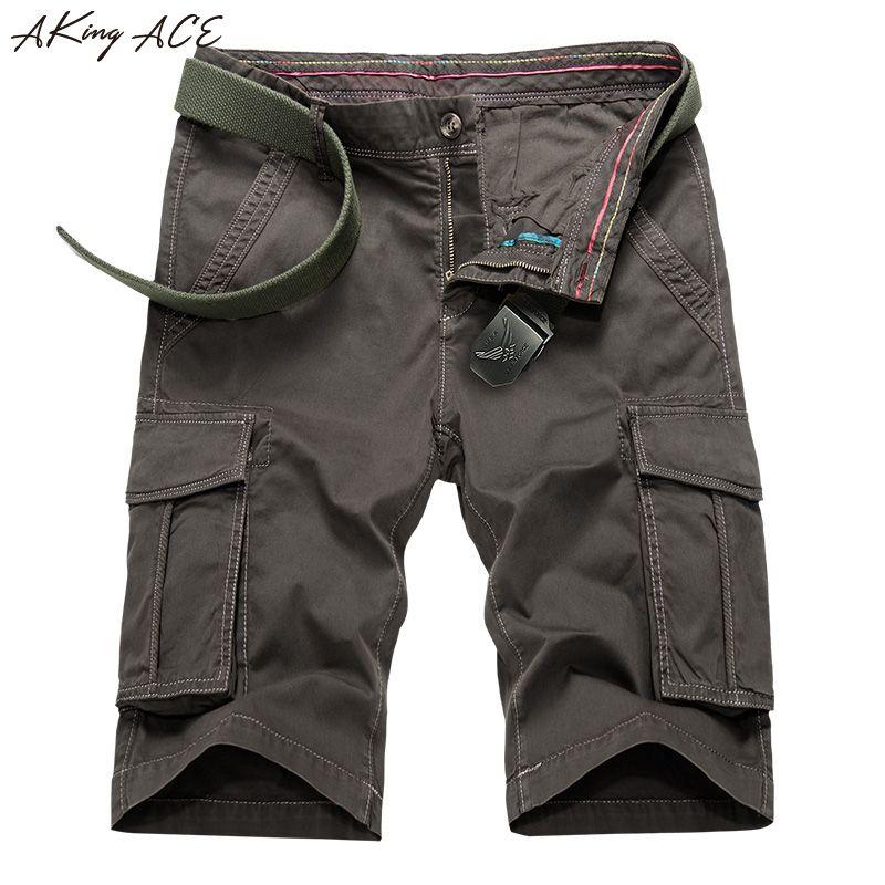 2017 Aking Ace мужские шорты-Карго карманы летние мужские шорты армии 100% хлопок повседневные шорты джинсовые Мужской большой размер 29 -38, ZA291