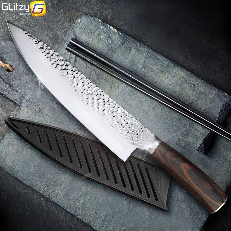 Couteau de cuisine 8 pouces professionnel japonais Chef couteaux 7CR17 440C haute teneur en carbone en acier inoxydable viande couperet trancheuse couteau Santoku