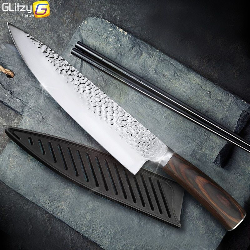 Cuisine Couteau 8 pouce Professionnel Japonais Chef Couteaux 7CR17 440C Haute Teneur En Carbone En Acier Inoxydable Viande Santoku Couteau Dropshipping