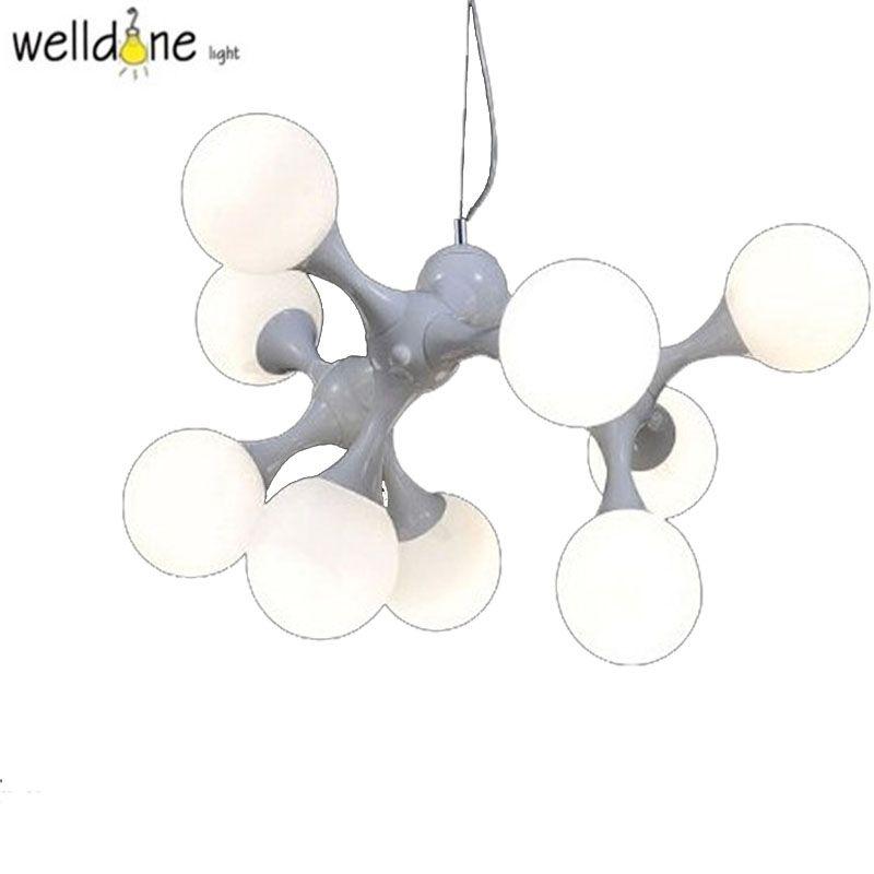 novel DNA 3/5/9 heads modern magic iron glass pendant light restaurant parlor hotel bar club pendent lamp