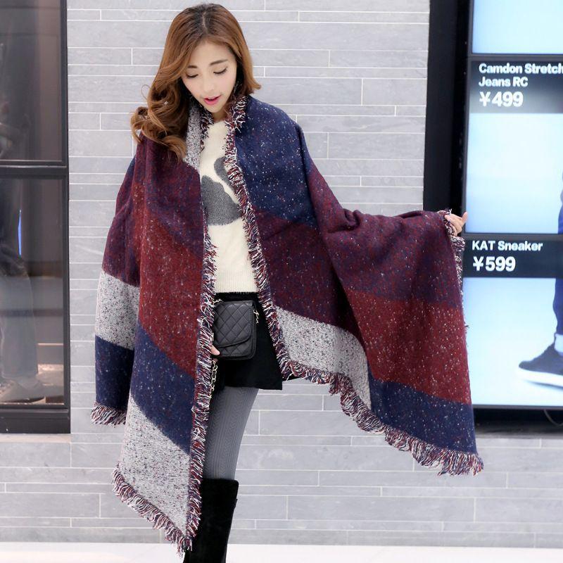 2018 Autumn Winter Warm Women Thicken Blanket Scarf 200cm Cashmere Pashmina Wool Scarves Warm Wraps Cape Tassel Poncho