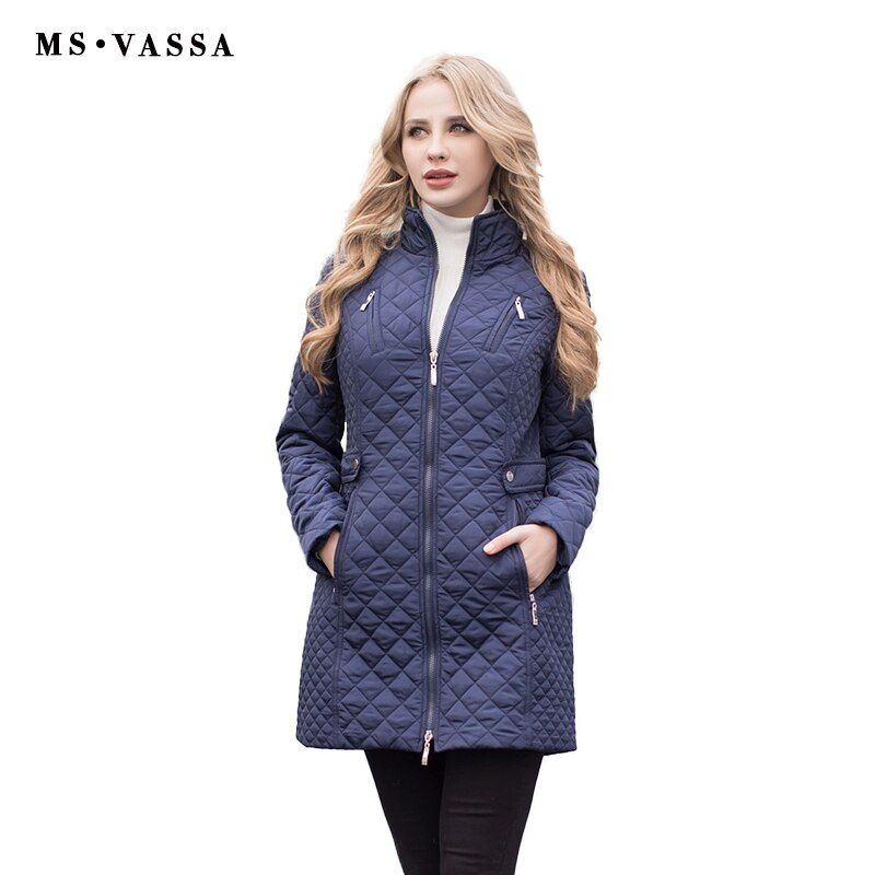 MS VASSA Women Parkas Autumn Winter New Jackets Lady casual Padded Coat Plus size 5XL 6XL long quilted female Oversize outerwear