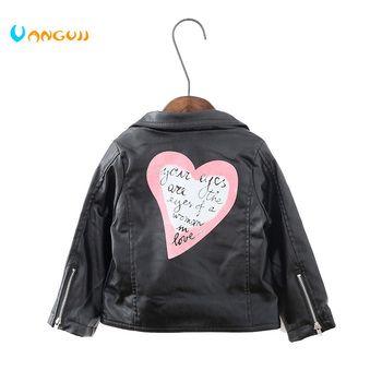 2017 automne hiver chaud enfants PU veste, 2-7 ans fille de mode amour, revers en cuir moto veste en cuir filles