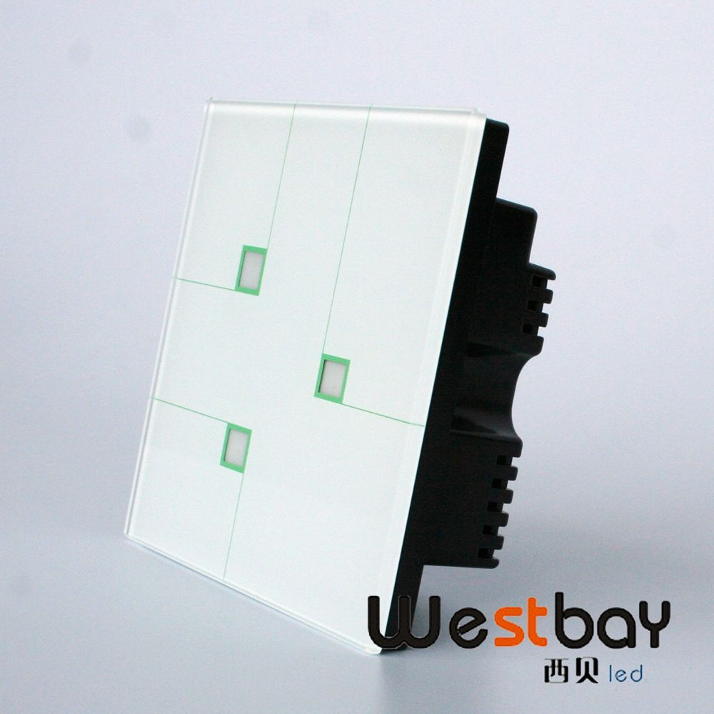New design Luxury crystal glass switch panel,110-250V, touching wall lights switch,3 gangs 2 way, free shipping touch switch