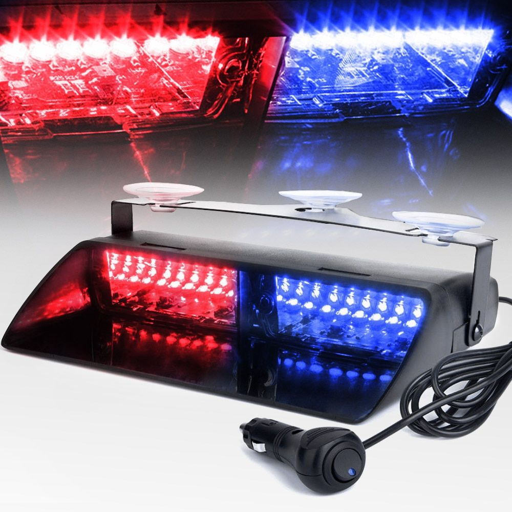16 LEDs 18 Flashing Modes 12V Car Truck Emergency Flasher Dash Strobe Warning Light Day Running Flash Led Police Lights