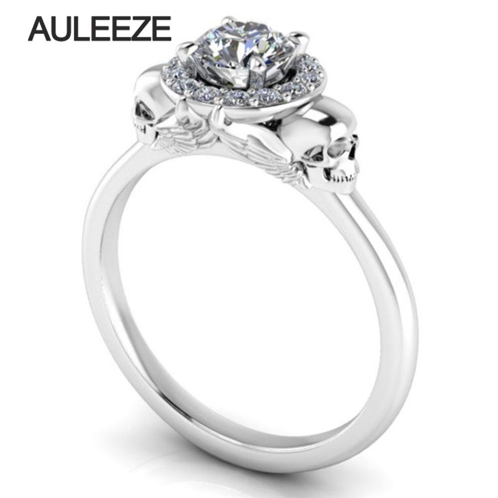 Halloween Solide 10 Karat Weißgold Verlobungsring Doppel Schädel Halo Simuliert Diamant Vintage Hochzeit Ring Einzigartige Gold Diamant-ring