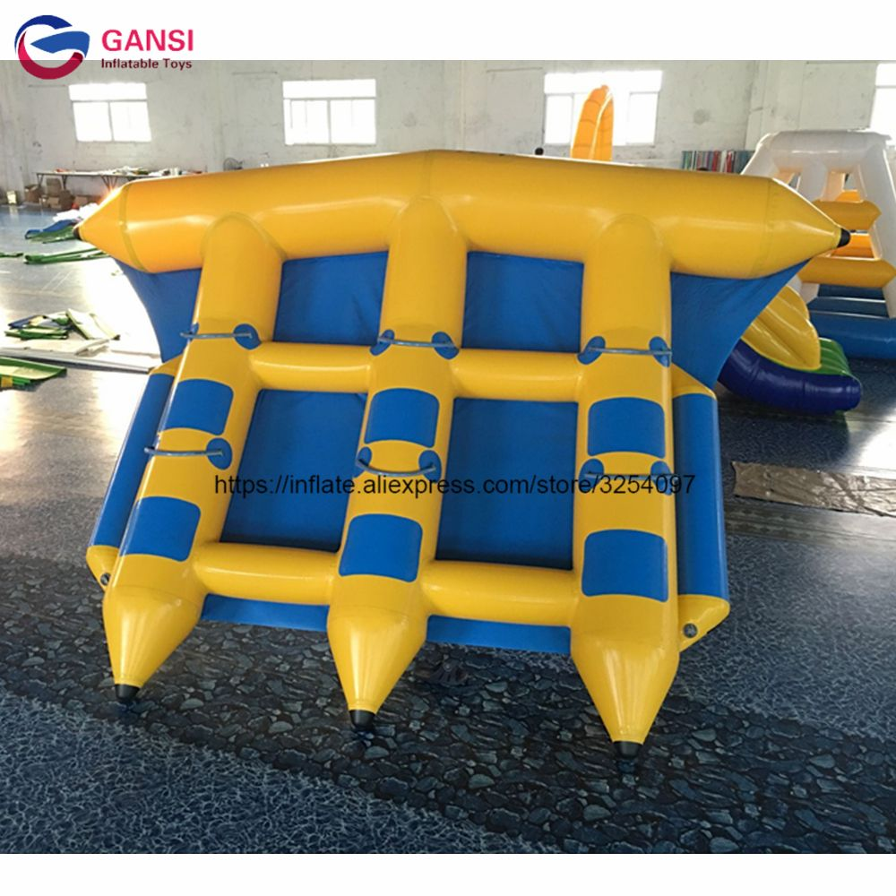 4*3m water boats inflatable fly fish with high quanlity,funny water sports inflatable flying fish towable for kids and adults