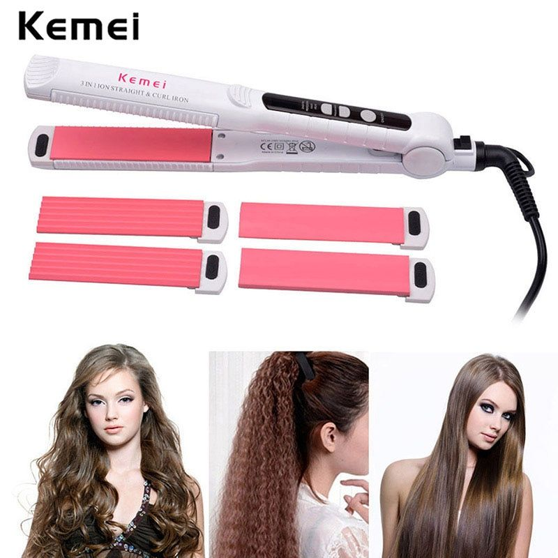 110-240V Professional Interchangeable 3 in 1 Ceramic Hair Crimper Straightener Curler Hair Corrugated Iron Curling Curl Tool LED