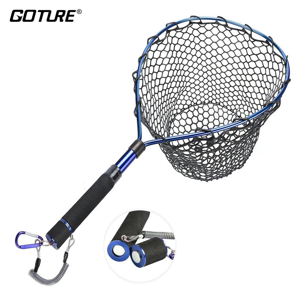 Goture Fischernetz Kescher mit Magnetclip Lanyard Aluminium Rahmen Weichen Gummi Mesh EVA Griff
