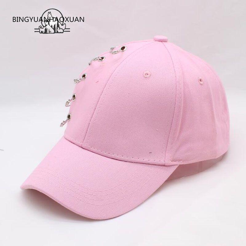 BINGYUANHAOXUAN 2017 Pin Persönlichkeit Baseball-kappen Kpop Frauen Männer Curved Brim Plain Blank Hysteresenkappe Mode Trucker Hut