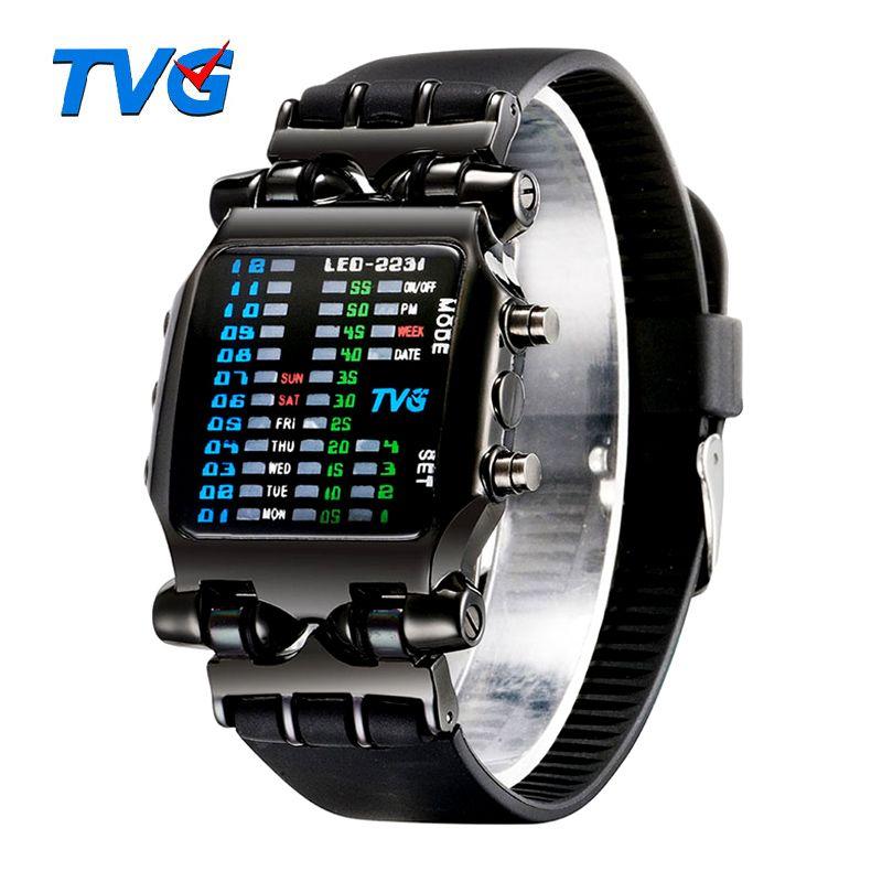 Marque de luxe montres tvg Hommes De Mode bracelet en caoutchouc led montre digitale Hommes 30 M Étanche Sport montres militaires montres pour hommes