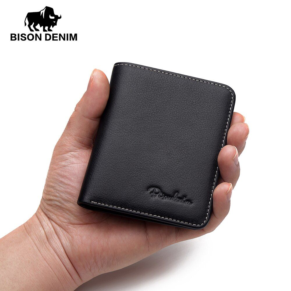BISON DENIM Black Purse For Men Genuine <font><b>Leather</b></font> Men's Wallets Thin Male Wallet Card Holder Cowskin Soft Mini Purses N4429