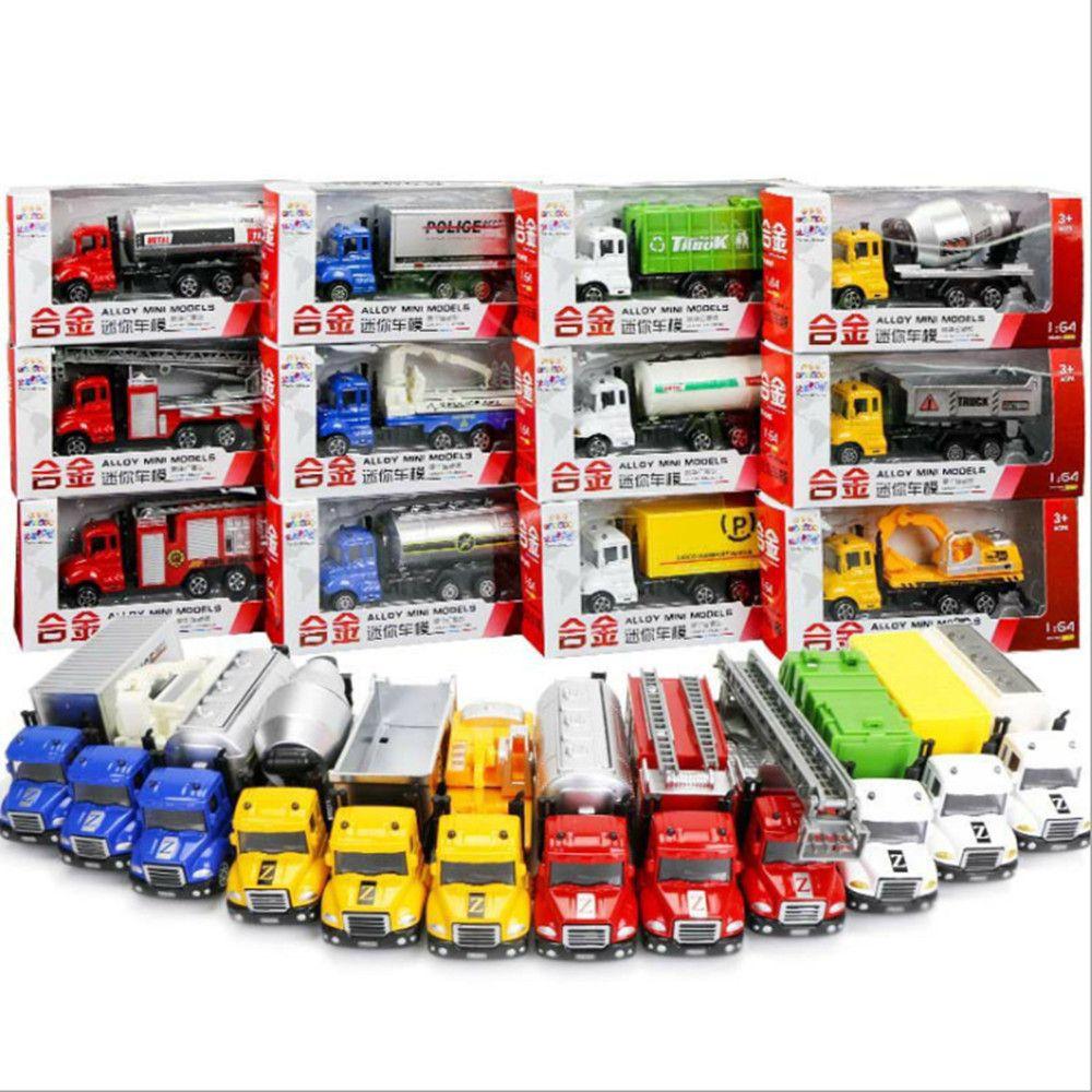 12pcs/set Alloy Car Model Mini Diecast ABS Material Delicate Pull Back Toy Garbage Truck Watering Transport Vehicle Toys Gift