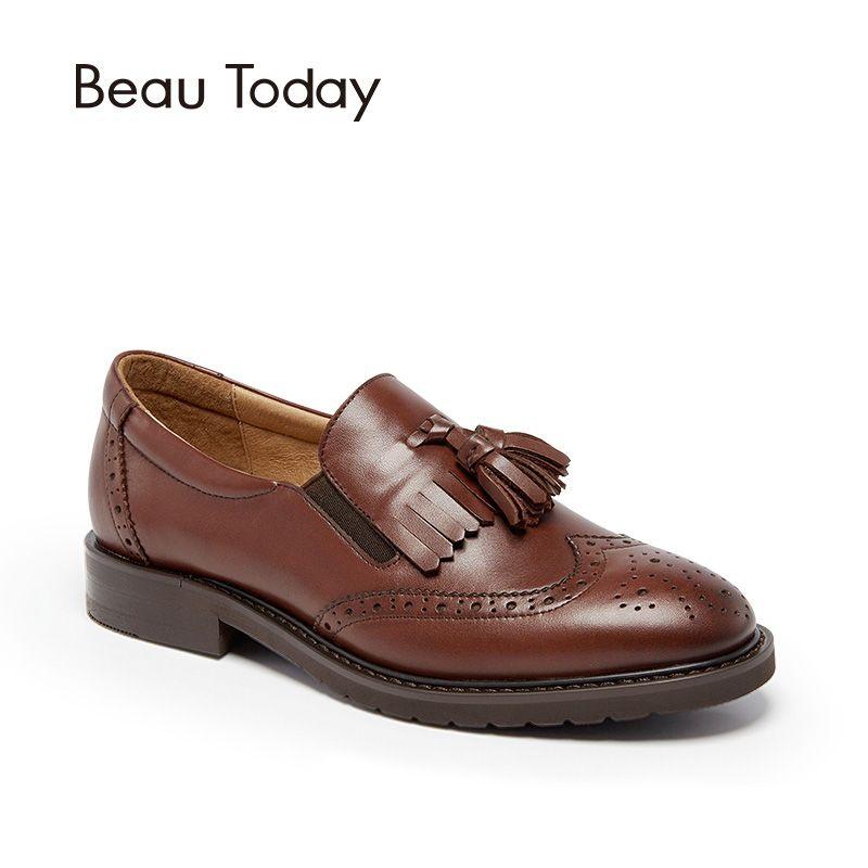 BeauToday Estilo Brogue Wingtip Oxfords Zapatos Mujeres Punta Redonda Hecha A Mano de piel de Becerro Genuino Slip On Pisos de Ropa Informal 21047