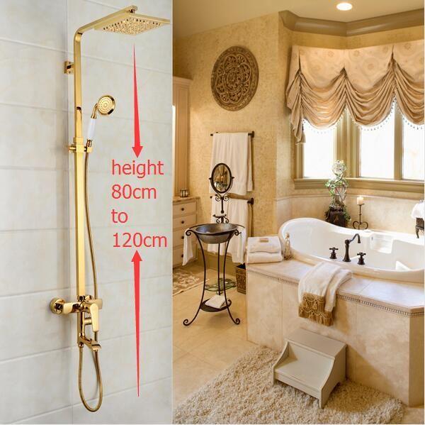 Dofaso Luxus Messing Regen Dusche Set gold Dusche Wand Duschsäule quadrat duschkopf