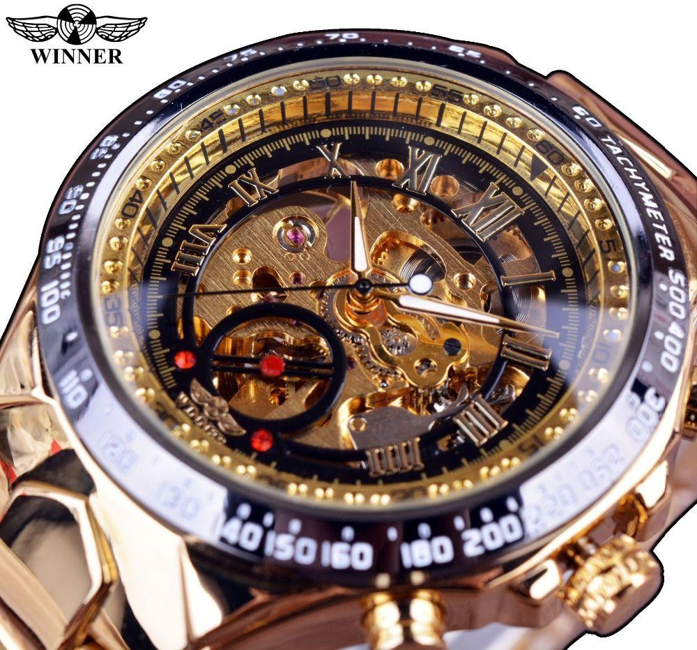 ПОБЕДИТЕЛЬ новый номер Спорт Дизайн ободок золотые часы Для мужчин S Часы лучший бренд класса люкс Montre Homme Часы Для мужчин Автоматическая Ск...