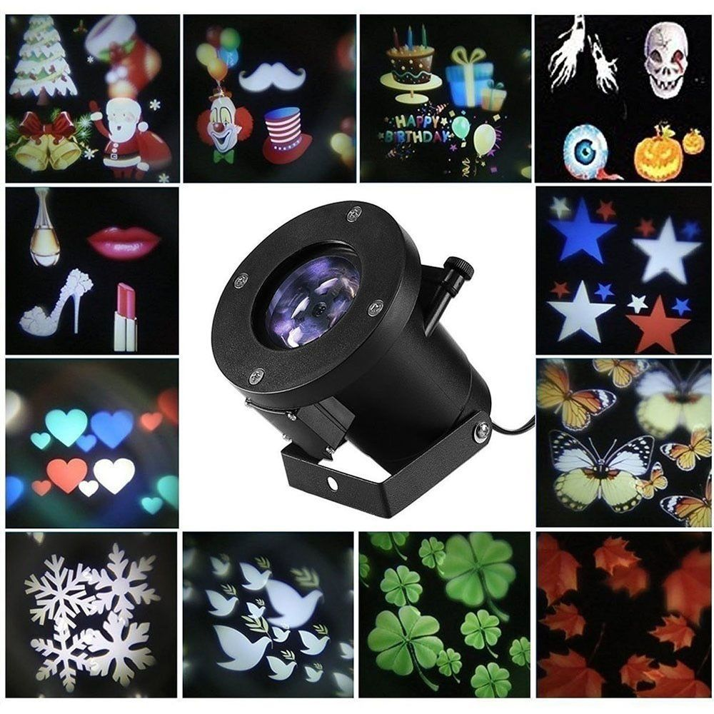 12 Patrones de Navidad Copo de Nieve Láser Proyector DJ Disco Luces de Jardín de Luz de la Estrella LED Al Aire Libre A Prueba de agua Decoración de Interior