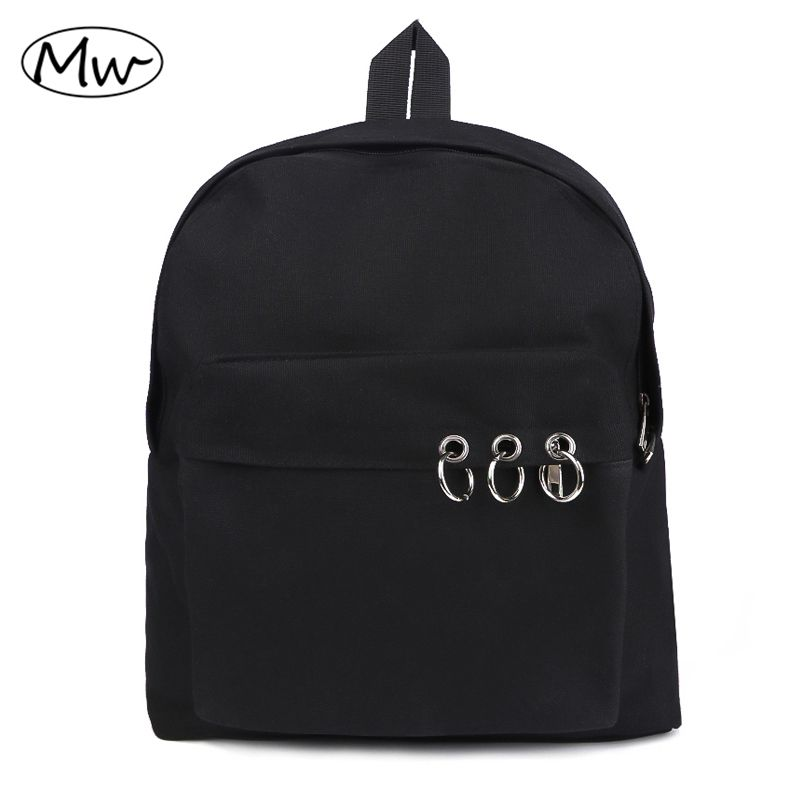 Harajuku Style Black Backpack Unisex Solid Canvas Backpack School Bags For Teenagers <font><b>Couple</b></font> Backpack Casual Travel Bag Mochila