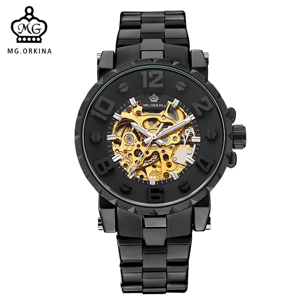 MG. ORKINA Men Wristwatch Golden Skeleton Clock Mechanical Male Wrist Watch Black Relogio <font><b>Masculino</b></font> Automatic Zegarek Meski