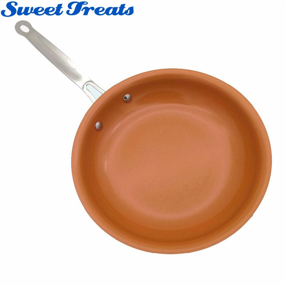 Sweettreats Non-stick Copper Frying Pan with <font><b>Ceramic</b></font> Coating and Induction cooking,Oven & Dishwasher safe 10 & 8 Inches