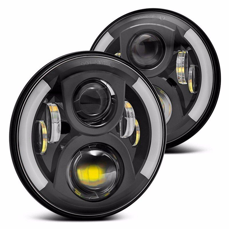 2PC Black 7 Inch Round Headlight For Jeep Wrangler 97-15 7