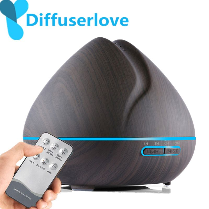 Diffuserlove 500ML Remote Control Air Humidifier Essential Oil Diffuser Humidificador Mist Maker LED Aroma Diffusor Aromatherapy