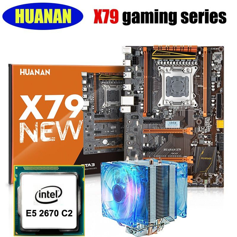 HUANAN deluxe X79 motherboard CPU combos with cooler X79 LGA2011 motherboard CPU Xeon E5 2670 C2 noise free CPU cooler all test