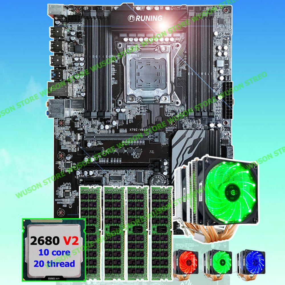 New arrival Runing Super ATX X79 motherboard processor Xeon E5 2680 V2 with GOOD cooler memory 64G(4*16G) 1600MHz DDR3 REG ECC
