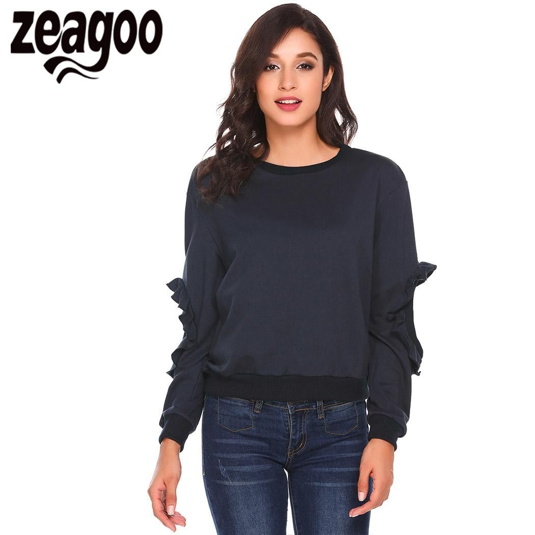 Zeagoo 2017 Для женщин Толстовка sudaderas Mujer с круглым вырезом и оборками Открыть локоть рукавом Повседневный пуловер Толстовка БЦ